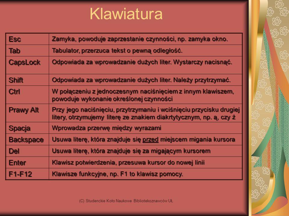 (C) Studenckie Koło Naukowe Bibliotekoznawców UŁ KlawiaturaEsc Zamyka, powoduje zaprzestanie czynności, np.