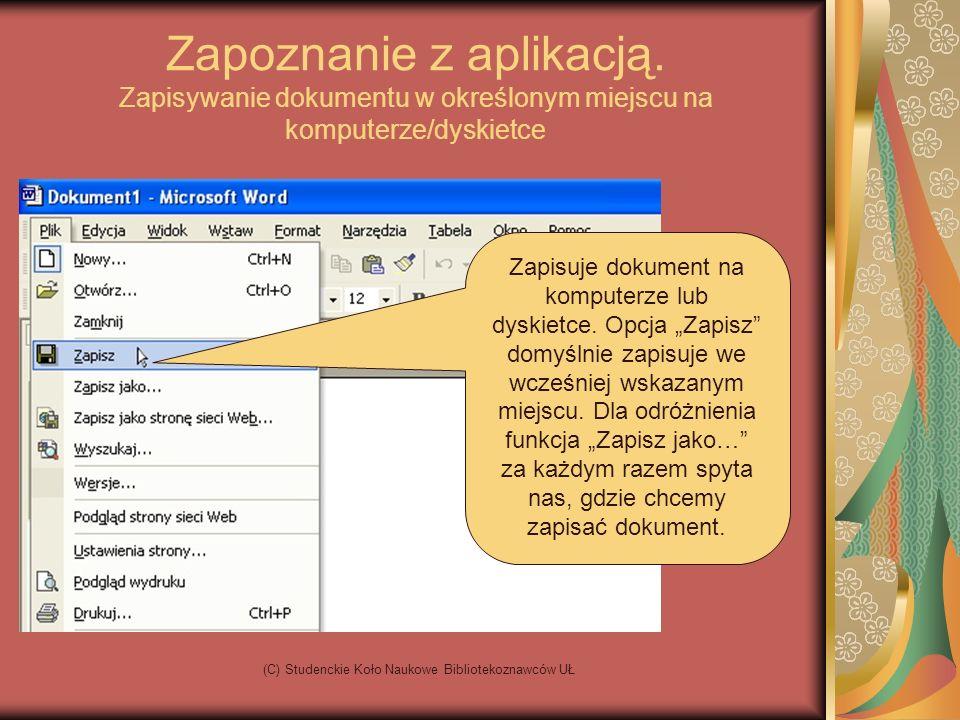 (C) Studenckie Koło Naukowe Bibliotekoznawców UŁ Ćwiczenia 1.Proszę wykonać dowolnej treści ogłoszenie w poziomym układzie strony, uwzględniając wstawienie rysunku, zmianę rodzaju i wielkości czcionki 2.Proszę sformatować tekst, który znajduje się w pliku na pulpicie do postaci listu.