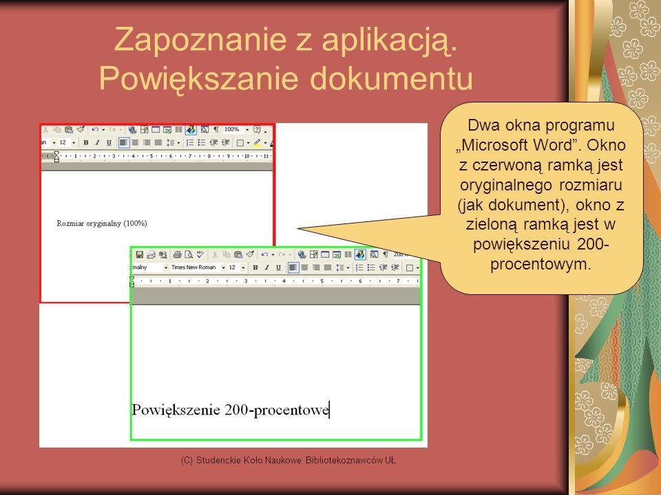 (C) Studenckie Koło Naukowe Bibliotekoznawców UŁ Okno programu Paski narzędzi Kursor myszy Kursor programu, | wskazuje miejsce w dokumencie Białe pole to nasza kartka, nad którą będziemy pracować Linijka pozioma Linijka pionowa