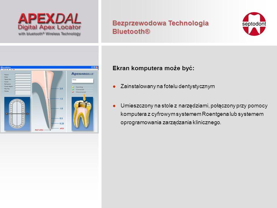 Ekran komputera może być: Zainstalowany na fotelu dentystycznym Umieszczony na stole z narzędziami, połączony przy pomocy komputera z cyfrowym systeme