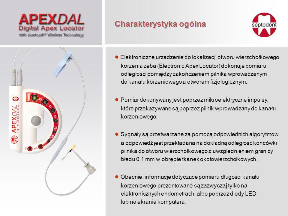 Elektroniczne urządzenie do lokalizacji otworu wierzchołkowego korzenia zęba (Electronic Apex Locator) dokonuje pomiaru odległości pomiędzy zakończeni