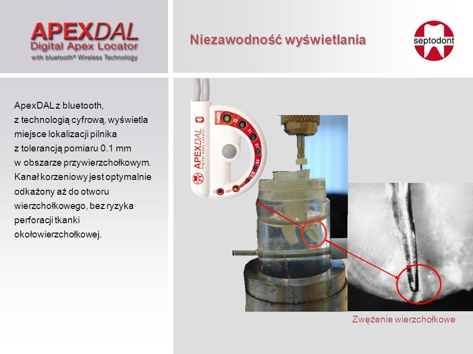 Krwawiący Suchy Wilgotny Automatyczne dostosowanie prądu pomiarowego do zmieniających się warunków w kanale korzeniowym ApexDAL z bluetooth jest w stanie dokładnie lokalizować otwór fizjologiczny w każdych, zmieniających się warunkach, w tym w kanałach suchych, wilgotnych i z obecnością krwi, dzięki unikalnej technologii automatycznego dostosowywania się prądu pomiarowego.