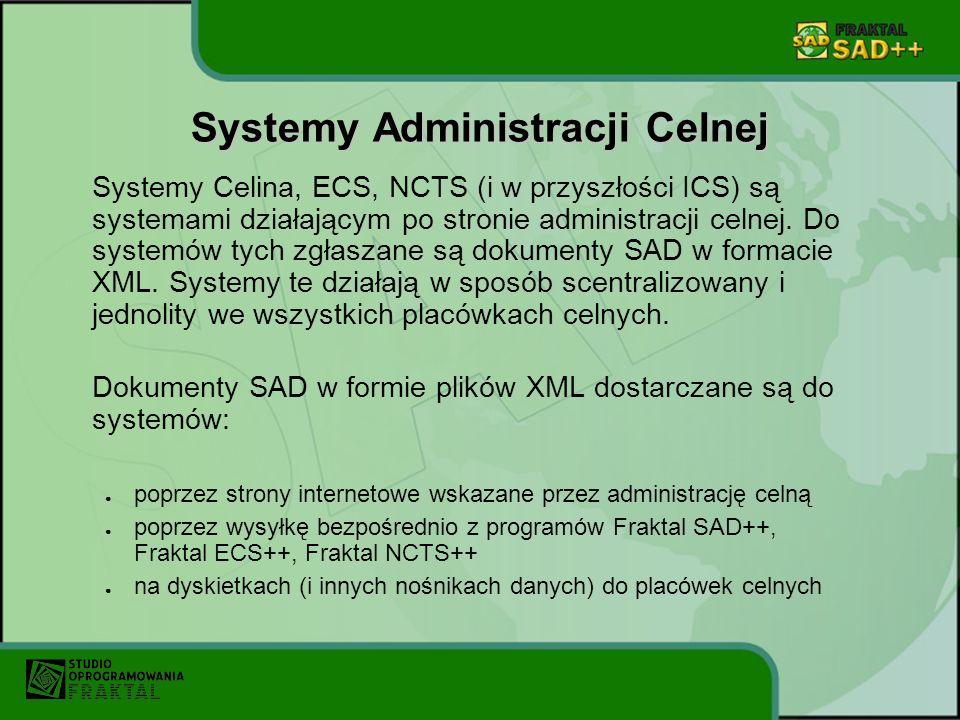 FRAKTAL SAD++ Fraktal SAD++ to nowoczesne oprogramowanie do przygotowywania dokumentów odprawy celnej: SAD, SAD-BIS, D.W.1 - dokumenty drukowane i i pliki XML komunikaty IE15 - zgłoszenie do systemu NCTS rozpoczynające tranzyt komunikaty IE515 - zgłoszenie do systemu ECS rozpoczynające wywóz W programie Fraktal SAD ++ dokumenty tworzone są w szybki i wygodny dla użytkownika sposób.
