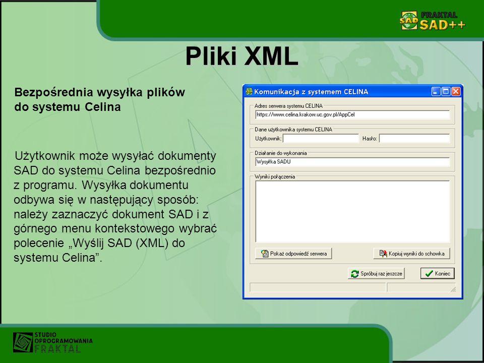 Pliki XML Użytkownik może wysyłać dokumenty SAD do systemu Celina bezpośrednio z programu. Wysyłka dokumentu odbywa się w następujący sposób: należy z