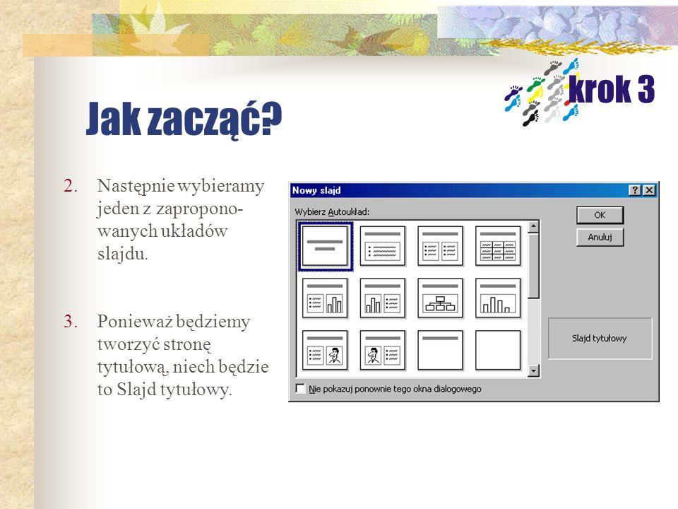 1.Po uruchomieniu PowerPointa pojawiają się trzy możliwości, my wybieramy Pustą prezentację. Jak zacząć? krok 3