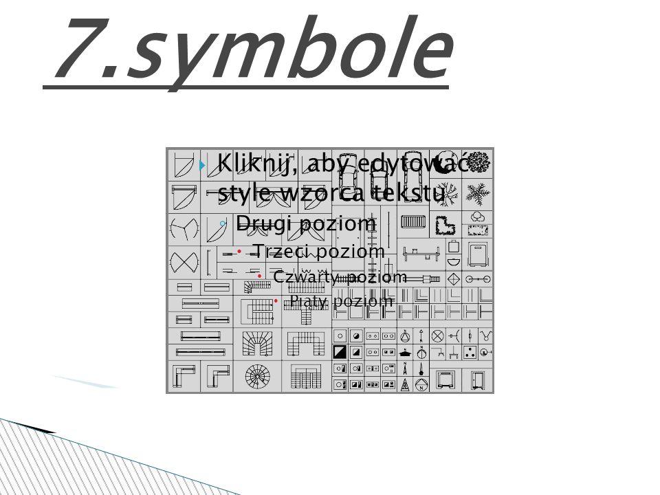 Kliknij, aby edytować style wzorca tekstu Drugi poziom Trzeci poziom Czwarty poziom Piąty poziom 7.symbole