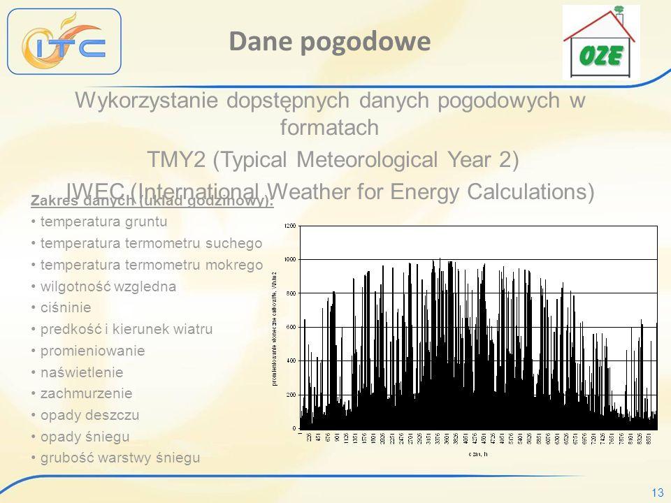 13 Dane pogodowe Wykorzystanie dopstępnych danych pogodowych w formatach TMY2 (Typical Meteorological Year 2) IWEC (International Weather for Energy Calculations) Zakres danych (uklad godzinowy): temperatura gruntu temperatura termometru suchego temperatura termometru mokrego wilgotność wzgledna ciśninie predkość i kierunek wiatru promieniowanie naświetlenie zachmurzenie opady deszczu opady śniegu grubość warstwy śniegu