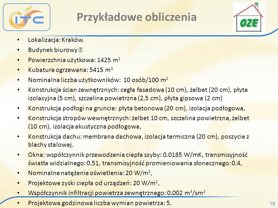 16 Przykładowe obliczenia Lokalizacja: Kraków.
