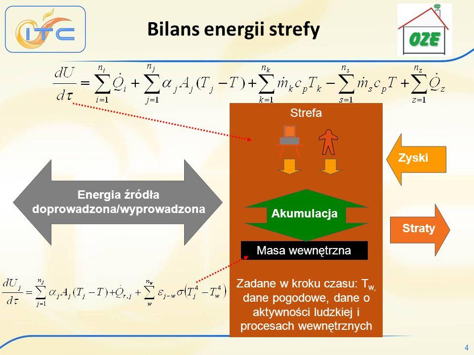 4 Strefa Zadane w kroku czasu: T w, dane pogodowe, dane o aktywności ludzkiej i procesach wewnętrznych Straty Masa wewnętrzna Zyski Akumulacja Energia źródła doprowadzona/wyprowadzona Bilans energii strefy