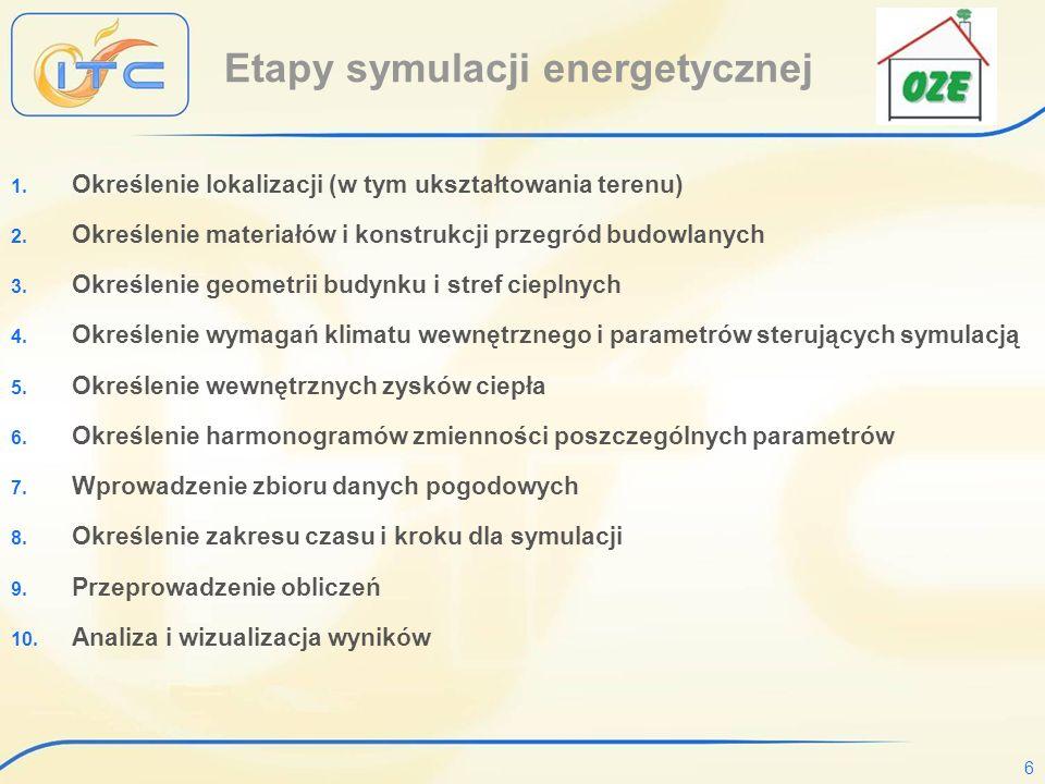 6 Etapy symulacji energetycznej 1.Określenie lokalizacji (w tym ukształtowania terenu) 2.