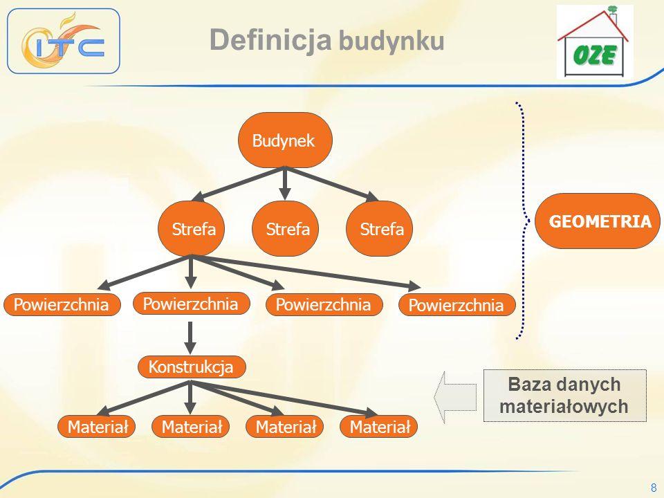 8 Definicja budynku Budynek Strefa Powierzchnia Konstrukcja Materiał Powierzchnia GEOMETRIA Baza danych materiałowych