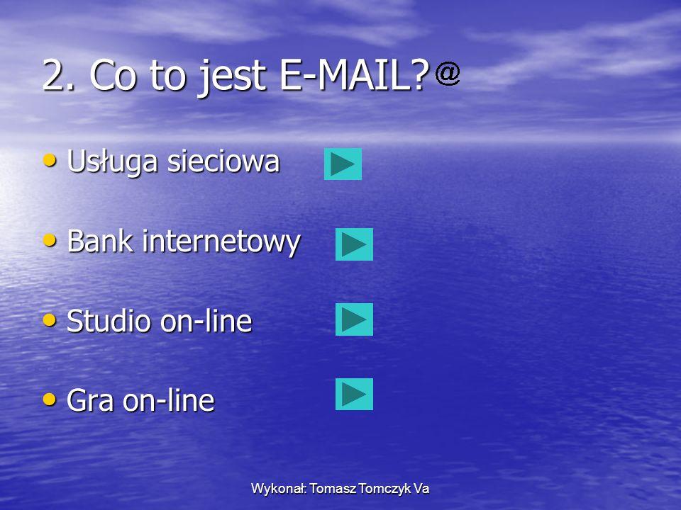 Wykonał: Tomasz Tomczyk Va 1. Co to jest akronim? Obrazek przedstawiający Cię wirtualnie Program Skrót utworzonej od pierwszych liter najczęściej używ