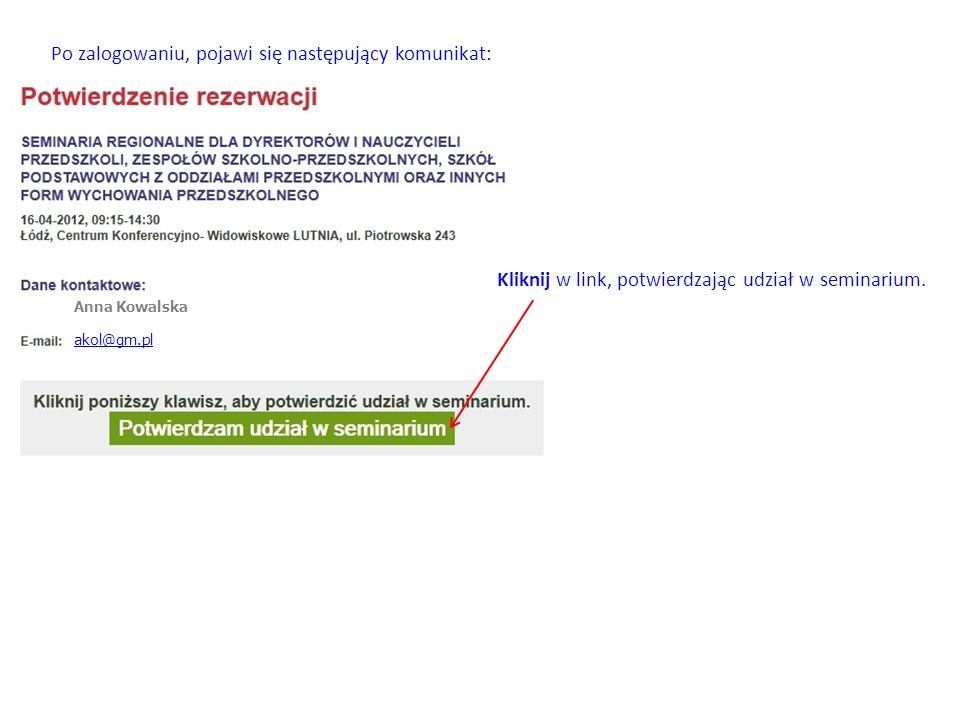 Konto Anna Kowalska akol@gm.pl zostało aktywowaneakol@gm.pl Po kliknięciu w link, powracamy na stronę www.p21.edu.pl, na której powinien pojawić się następujący komunikat:www.p21.edu.pl Po tym komunikacie, w swojej skrzynce odbiorczej znajdziesz kolejną informację: Zamknij swoją skrzynkę pocztową i powróć do strony z logowaniem.