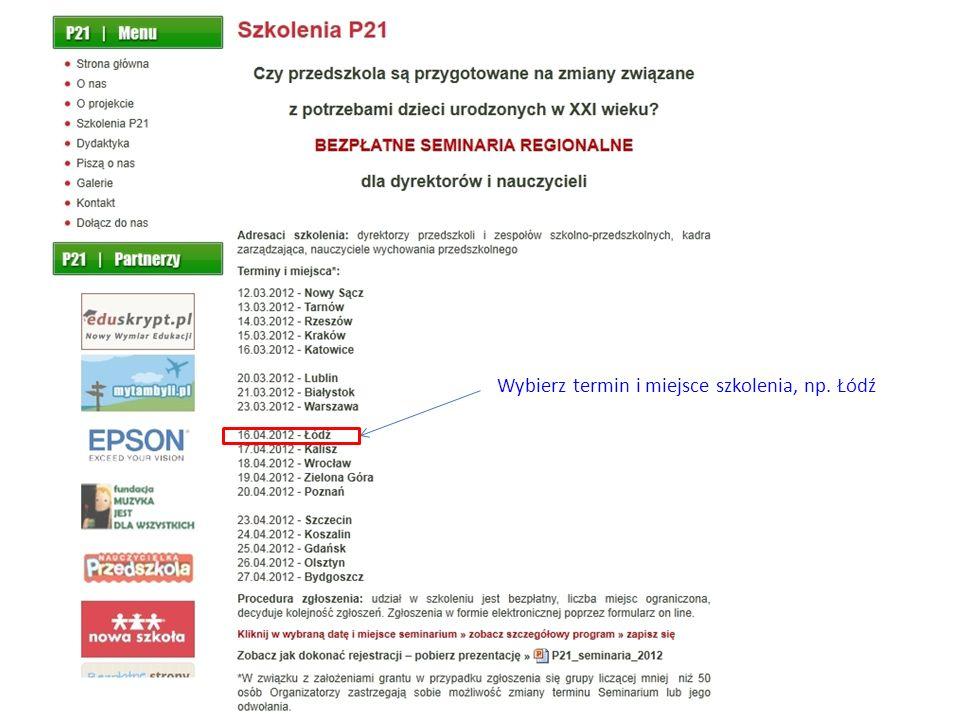 Po wejściu na stronę główną www.p21.edu.plwww.p21.edu.pl kliknij w: