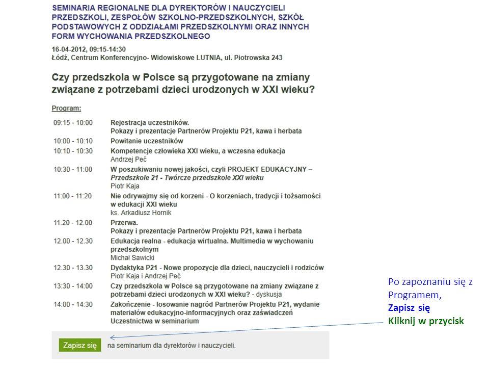 Wybierz termin i miejsce szkolenia, np. Łódź