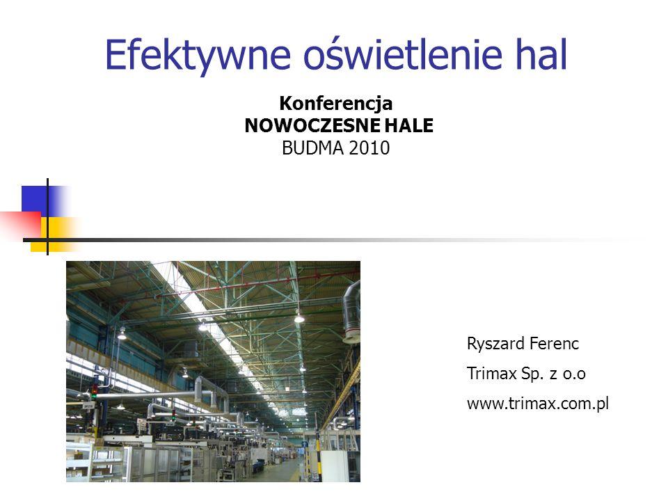 Efektywne oświetlenie hal Konferencja NOWOCZESNE HALE BUDMA 2010 Ryszard Ferenc Trimax Sp. z o.o www.trimax.com.pl