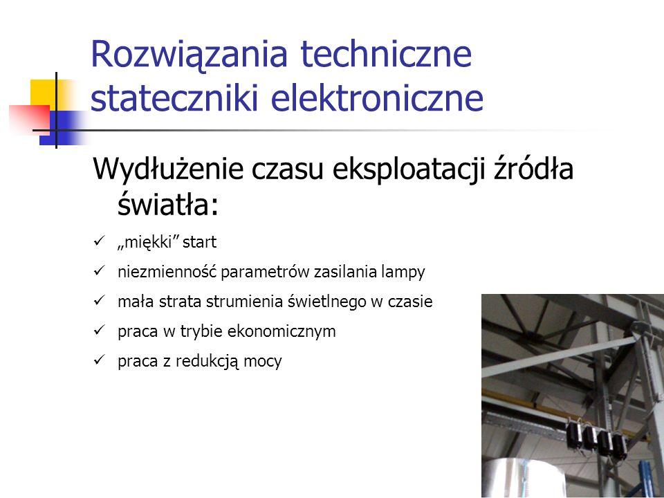 Rozwiązania techniczne stateczniki elektroniczne Wydłużenie czasu eksploatacji źródła światła: miękki start niezmienność parametrów zasilania lampy ma