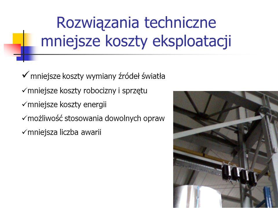 Rozwiązania techniczne mniejsze koszty eksploatacji mniejsze koszty wymiany źródeł światła mniejsze koszty robocizny i sprzętu mniejsze koszty energii