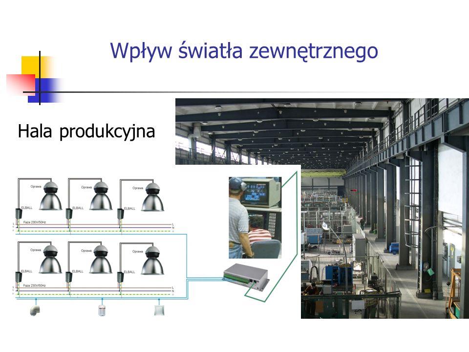 Hala produkcyjna Wpływ światła zewnętrznego