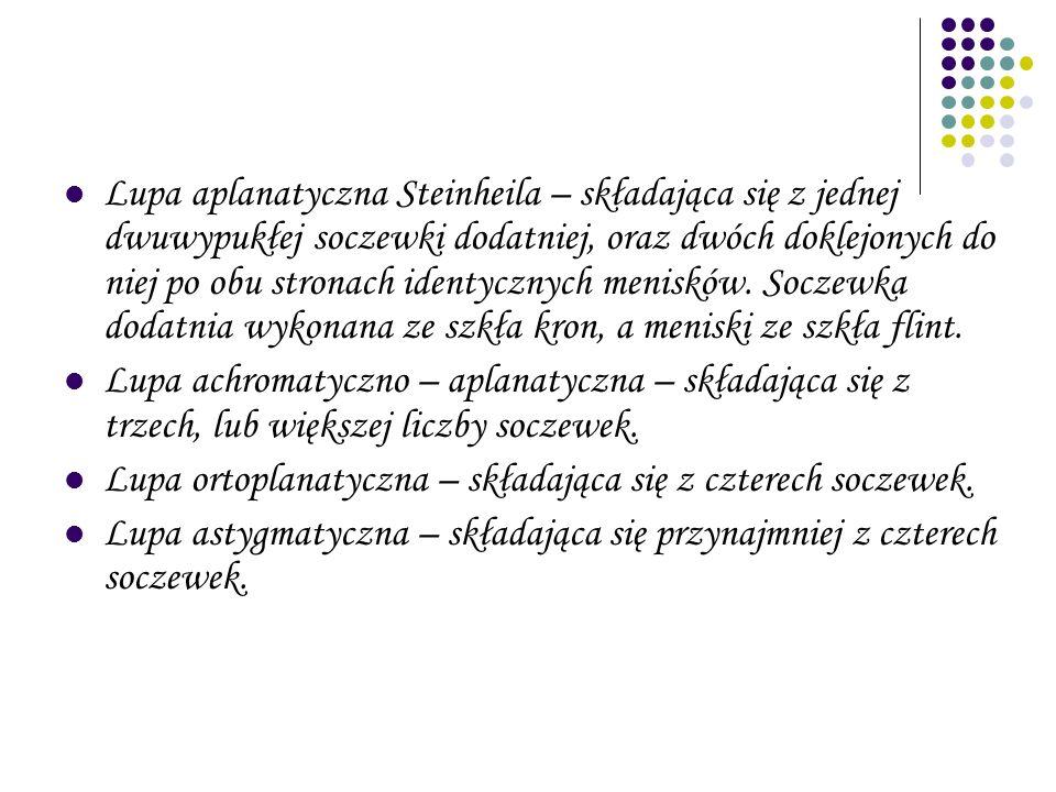 Lupa aplanatyczna Steinheila – składająca się z jednej dwuwypukłej soczewki dodatniej, oraz dwóch doklejonych do niej po obu stronach identycznych men