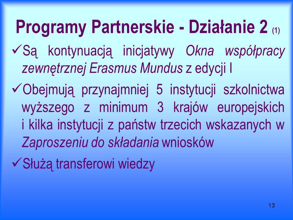 13 Programy Partnerskie - Działanie 2 (1) Są kontynuacją inicjatywy Okna współpracy zewnętrznej Erasmus Mundus z edycji I Obejmują przynajmniej 5 instytucji szkolnictwa wyższego z minimum 3 krajów europejskich i kilka instytucji z państw trzecich wskazanych w Zaproszeniu do składania wniosków Służą transferowi wiedzy