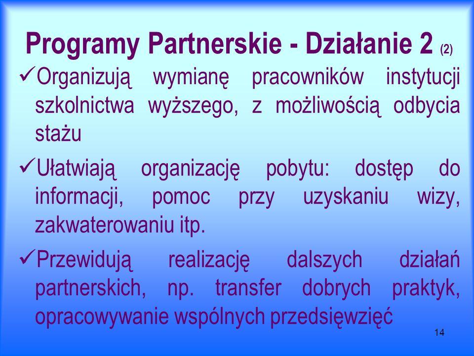 14 Programy Partnerskie - Działanie 2 (2) Organizują wymianę pracowników instytucji szkolnictwa wyższego, z możliwością odbycia stażu Ułatwiają organizację pobytu: dostęp do informacji, pomoc przy uzyskaniu wizy, zakwaterowaniu itp.