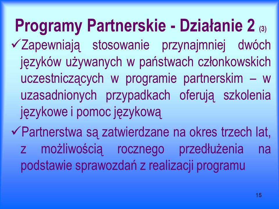 15 Programy Partnerskie - Działanie 2 (3) Zapewniają stosowanie przynajmniej dwóch języków używanych w państwach członkowskich uczestniczących w programie partnerskim – w uzasadnionych przypadkach oferują szkolenia językowe i pomoc językową Partnerstwa są zatwierdzane na okres trzech lat, z możliwością rocznego przedłużenia na podstawie sprawozdań z realizacji programu
