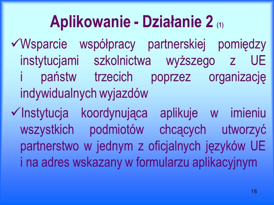 16 Aplikowanie - Działanie 2 (1) Wsparcie współpracy partnerskiej pomiędzy instytucjami szkolnictwa wyższego z UE i państw trzecich poprzez organizację indywidualnych wyjazdów Instytucja koordynująca aplikuje w imieniu wszystkich podmiotów chcących utworzyć partnerstwo w jednym z oficjalnych języków UE i na adres wskazany w formularzu aplikacyjnym