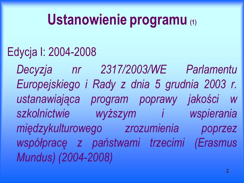 2 Ustanowienie programu (1) Edycja I: 2004-2008 Decyzja nr 2317/2003/WE Parlamentu Europejskiego i Rady z dnia 5 grudnia 2003 r. ustanawiająca program