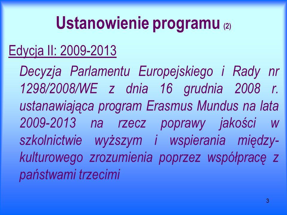 3 Ustanowienie programu (2) Edycja II: 2009-2013 Decyzja Parlamentu Europejskiego i Rady nr 1298/2008/WE z dnia 16 grudnia 2008 r. ustanawiająca progr