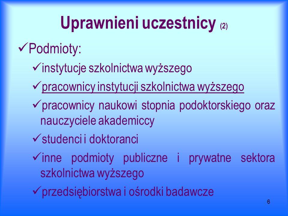 6 Uprawnieni uczestnicy (2) Podmioty: instytucje szkolnictwa wyższego pracownicy instytucji szkolnictwa wyższego pracownicy naukowi stopnia podoktorsk