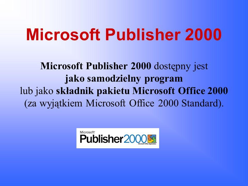 Współudział innych programów w tworzeniu dokumentu Microsoft Publisher 2000 Niektóre elementy dokumentu Publisher mogą być współtworzone w innych aplikacjach grupy Office 2000 i nie tylko.