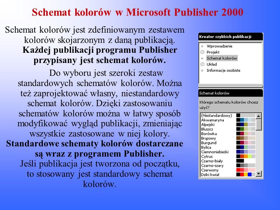Schemat kolorów w Microsoft Publisher 2000 Schemat kolorów jest zdefiniowanym zestawem kolorów skojarzonym z daną publikacją. Każdej publikacji progra