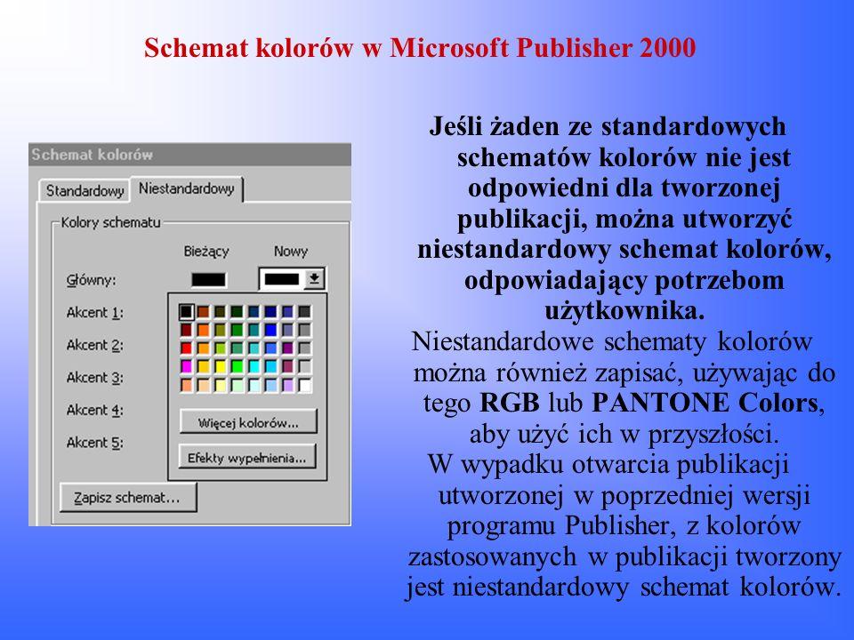 Schemat kolorów w Microsoft Publisher 2000 Jeśli żaden ze standardowych schematów kolorów nie jest odpowiedni dla tworzonej publikacji, można utworzyć