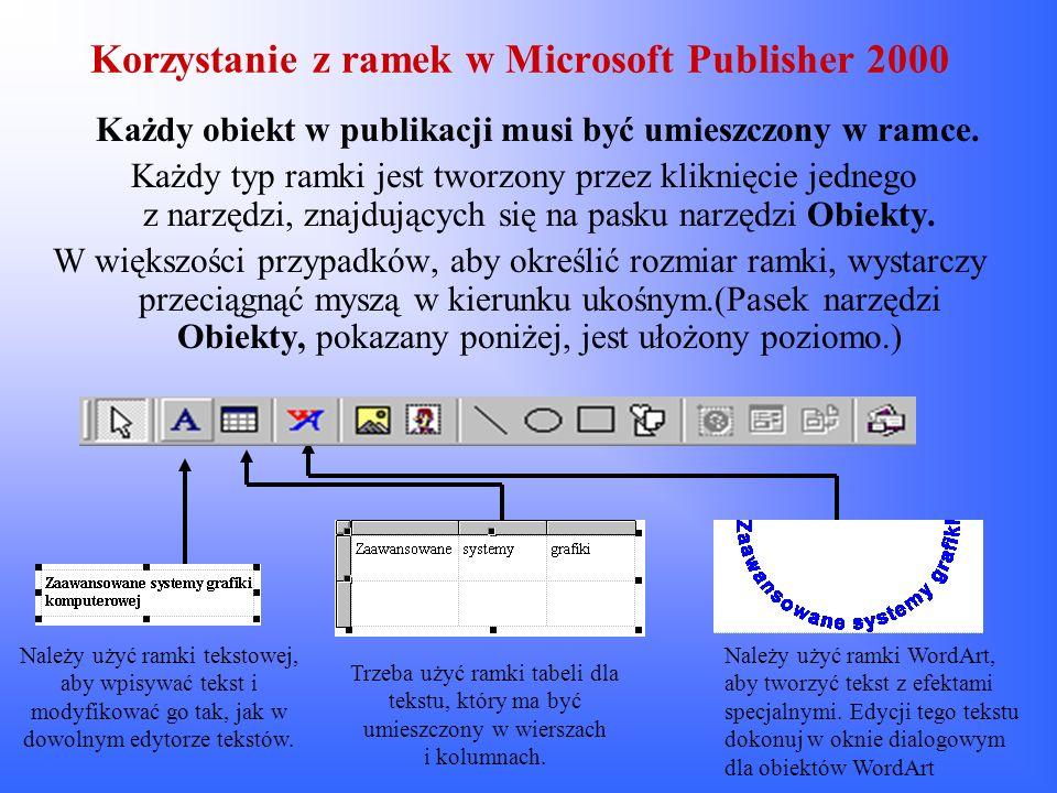 Korzystanie z ramek w Microsoft Publisher 2000 Każdy obiekt w publikacji musi być umieszczony w ramce. Każdy typ ramki jest tworzony przez kliknięcie