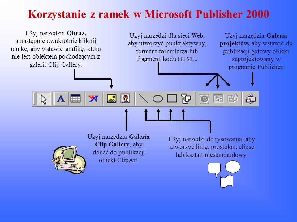 Korzystanie z ramek w Microsoft Publisher 2000 Użyj narzędzia Obraz, a następnie dwukrotnie kliknij ramkę, aby wstawić grafikę, która nie jest obiekte
