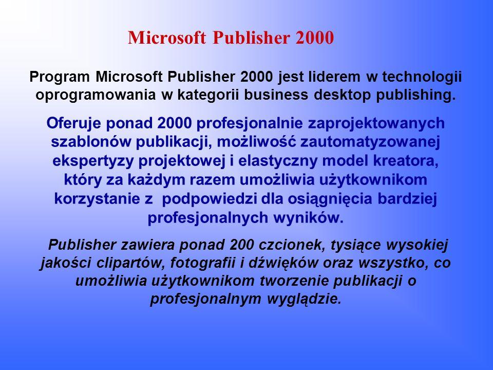 Profile osobiste w Microsoft Publisher 2000 Każdy zestaw informacji osobistych zawiera siedem składników: Imię i nazwisko, Stanowisko, Adres, Nazwa firmy, Tel./Faks/E-mail, Dewiza, Logo.