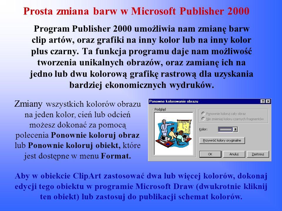 Prosta zmiana barw w Microsoft Publisher 2000 Program Publisher 2000 umożliwia nam zmianę barw clip artów, oraz grafiki na inny kolor lub na inny kolo