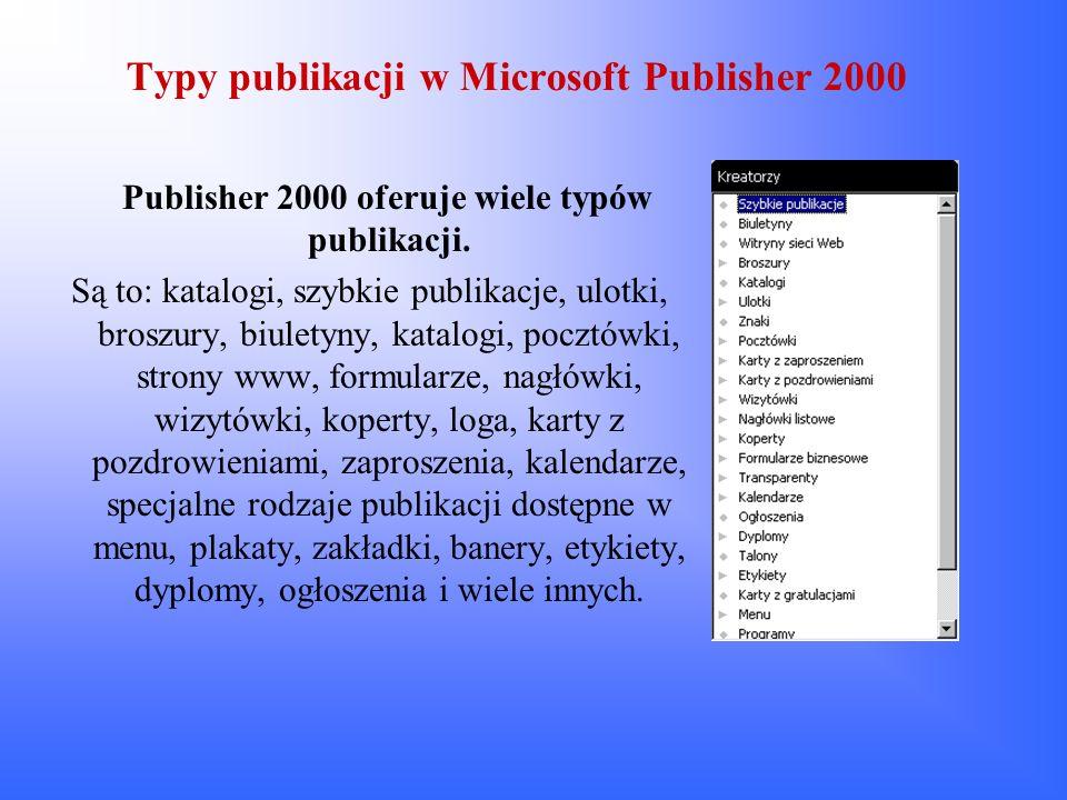 Typy publikacji w Microsoft Publisher 2000 Publisher 2000 oferuje wiele typów publikacji. Są to: katalogi, szybkie publikacje, ulotki, broszury, biule