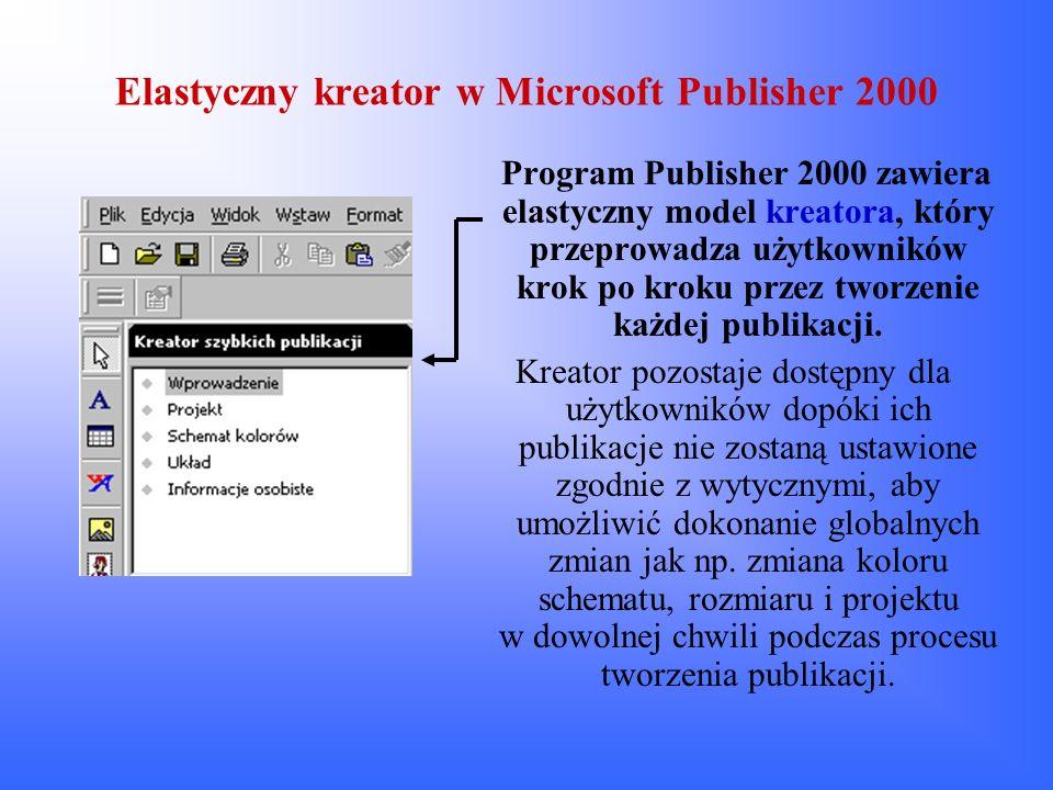 Elastyczny kreator w Microsoft Publisher 2000 Program Publisher 2000 zawiera elastyczny model kreatora, który przeprowadza użytkowników krok po kroku