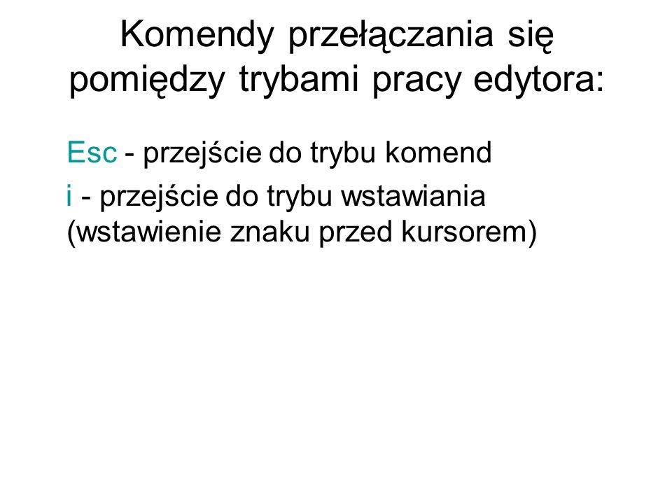 Komendy przełączania się pomiędzy trybami pracy edytora: Esc - przejście do trybu komend i - przejście do trybu wstawiania (wstawienie znaku przed kur