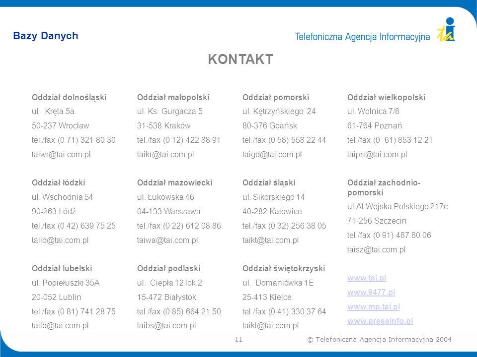 11© Telefoniczna Agencja Informacyjna 2004 Bazy Danych KONTAKT Oddział dolnośląski ul.