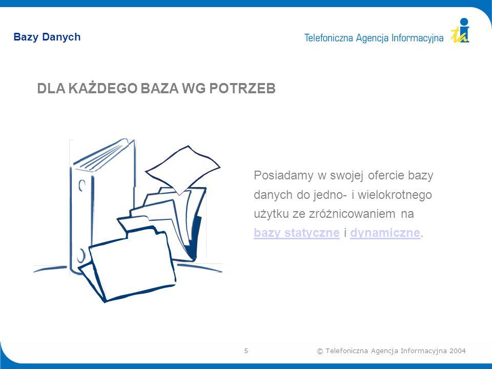 5© Telefoniczna Agencja Informacyjna 2004 Bazy Danych DLA KAŻDEGO BAZA WG POTRZEB Posiadamy w swojej ofercie bazy danych do jedno- i wielokrotnego użytku ze zróżnicowaniem na bazy statyczne i dynamiczne.