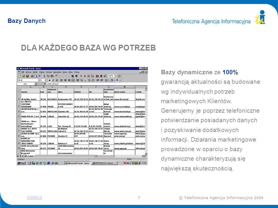 7© Telefoniczna Agencja Informacyjna 2004 Bazy Danych DLA KAŻDEGO BAZA WG POTRZEB Bazy dynamiczne ze 100% gwarancją aktualności są budowane wg indywidualnych potrzeb marketingowych Klientów.