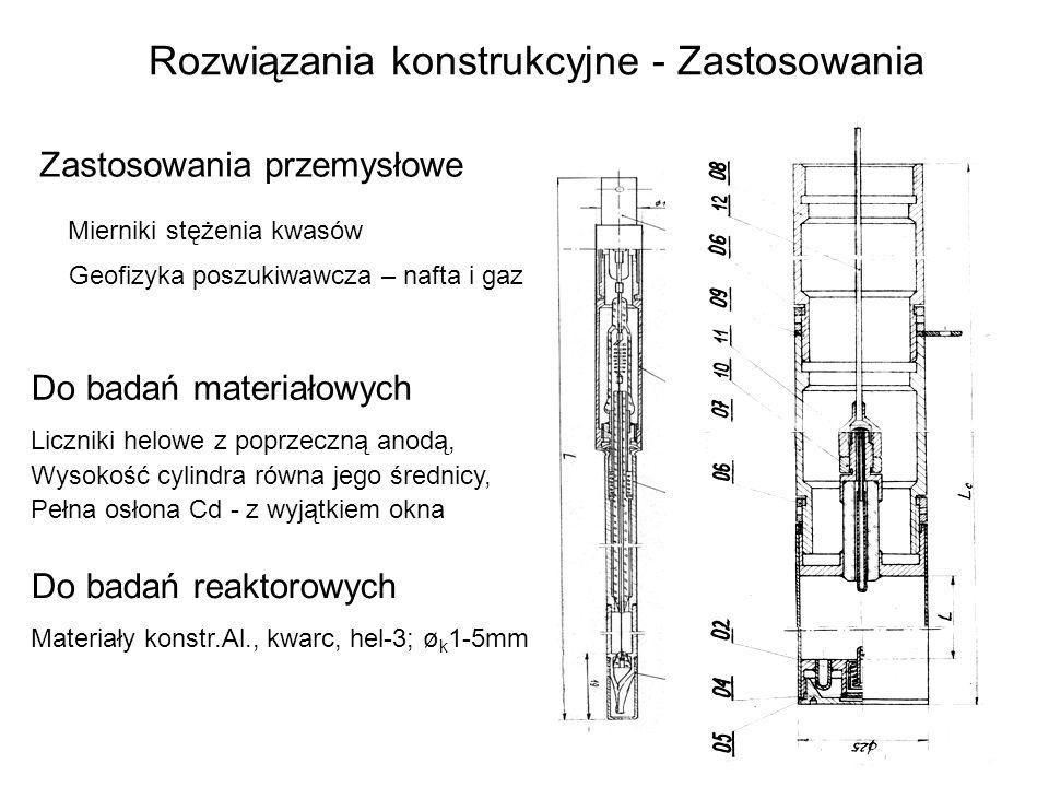 Rozwiązania konstrukcyjne - Zastosowania Zastosowania przemysłowe Mierniki stężenia kwasów Geofizyka poszukiwawcza – nafta i gaz Do badań materiałowyc