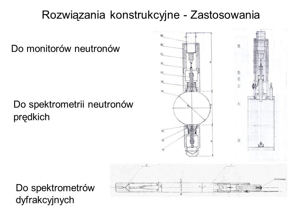 Rozwiązania konstrukcyjne - Zastosowania Do monitorów neutronów Do spektrometrii neutronów prędkich Do spektrometrów dyfrakcyjnych