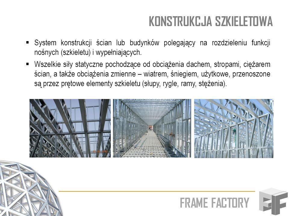 FRAME FACTORY KONSTRUKCJA SZKIELETOWA Zalety konstrukcji szkieletowych swobodnego kształtowanie wnętrza oraz zmiany podziału funkcjonalnego pomieszczeń w trakcie eksploatacji obiektu budowlanego; różnorodny materiał konstrukcyjny: stal, żelbet oraz drewno (w tym drewno klejone) racjonalne wykorzystanie technicznych własności materiału konstrukcyjnego – zmniejszenie ciężaru jednostkowego obiektu budowlanego; bez porównania krótszy czas potrzebny na wykonanie obiektu.