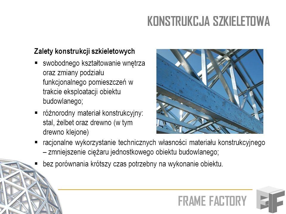 FRAME FACTORY KONSTRUKCJA SZKIELETOWA Zalety konstrukcji szkieletowych swobodnego kształtowanie wnętrza oraz zmiany podziału funkcjonalnego pomieszcze