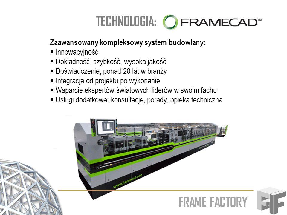 FRAME FACTORY TECHNOLOGIA: Zaawansowany kompleksowy system budowlany: Innowacyjność Dokładność, szybkość, wysoka jakość Doświadczenie, ponad 20 lat w