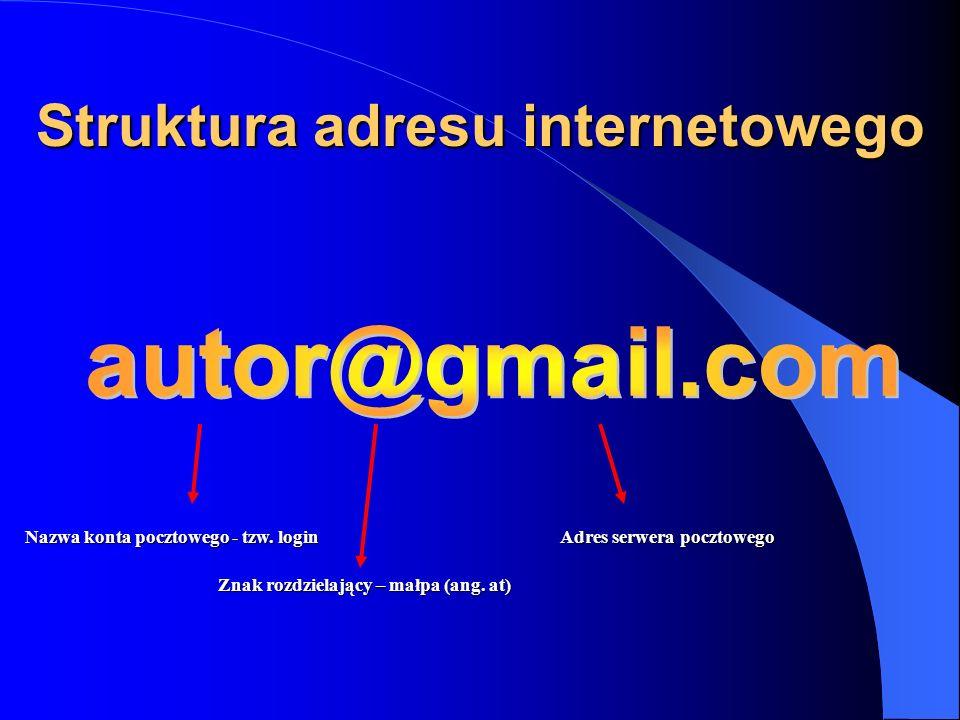 Struktura adresu internetowego Nazwa konta pocztowego - tzw. login Znak rozdzielający – małpa (ang. at) Adres serwera pocztowego